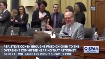 Congressman Cohen brings bucket of fried chicken to mock no-show AG Barr